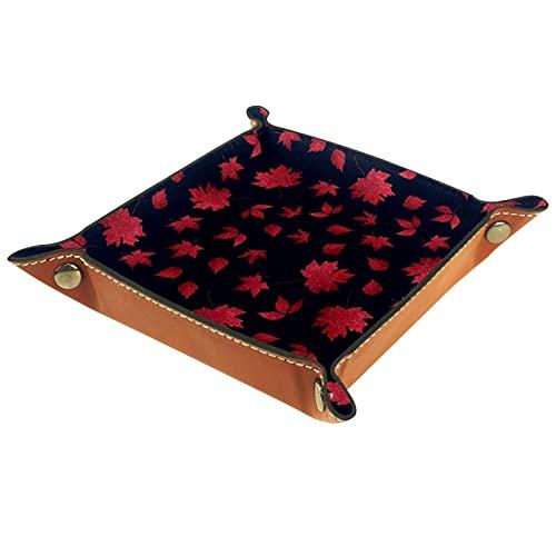 Faltbare Würfelspiele Tablett Leder Quadratische Schmuckschalen und Uhr, Schlüssel, Münze, Süßigkeiten Aufbewahrungsbox Herbst Rot Ahorn Blätter Dunkelblau
