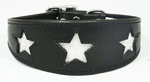 4doggies Halsband aus Leder, für Italienisches Windspiel, mit glitzerndem Sternenmotiv, 25-35cm, Schwarz