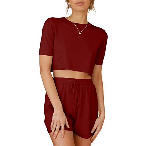 Sovelen Women's 2 Piece Shorts Set Casual Loose Short Sleeve Crop Tops Elastic Waist Drawstring Shorts Outfits Tracksuit (Wine red,X-Large)