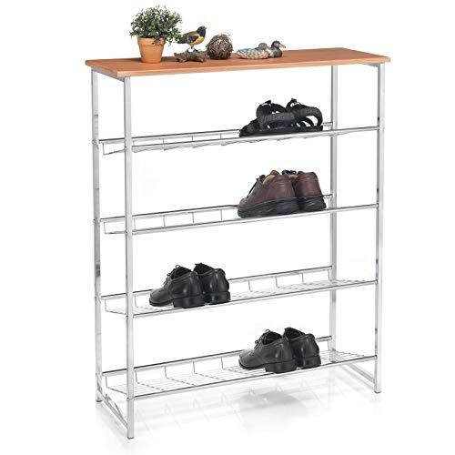 CARO-Möbel Schuhregal CORREDOR Schuhablage Schuhaufbewahrung mit Ablage in buchefarben, 4 Fächer 16 Schuhe