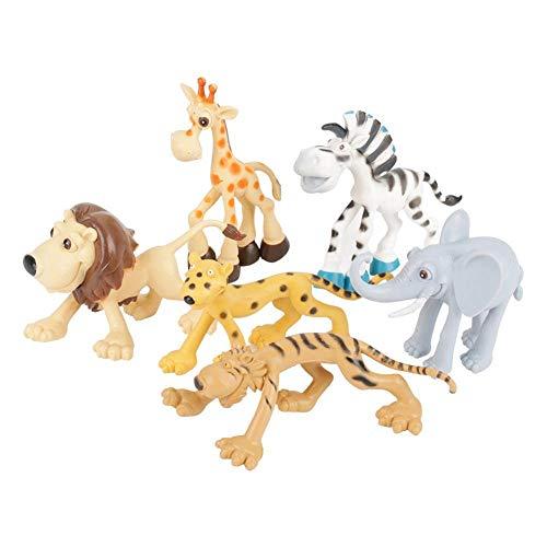 Asixxsix Juego de Juguetes de Animales para niños, Juego de Juguetes de Animales adorables, Mano de Obra Fina no tóxica Duradera para niños(6 Cartoon Animals)