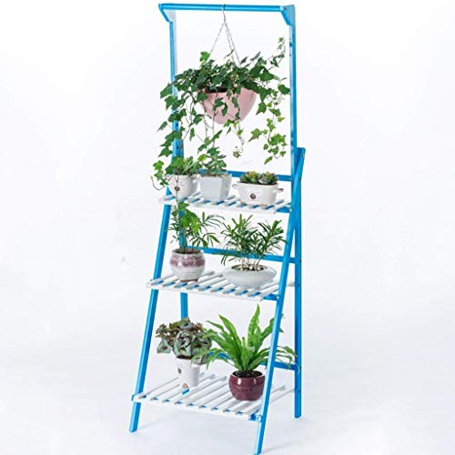 QRXACY Multifuncional Madera Maciza Flower Stand Multicapa Azul Plant Pot Stand para Interiores y Exteriores Display Racks Garden Decoration-50cm