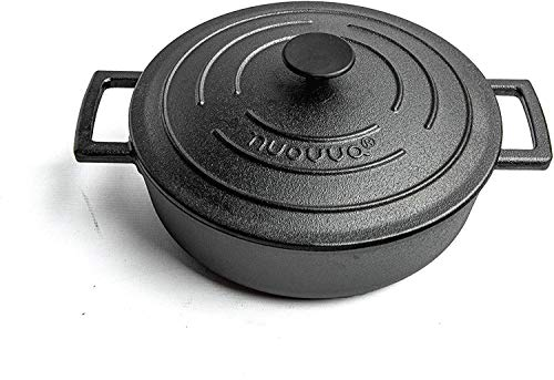 Cast Iron Pot with Lid– NonStick Shallow Cast Iron Pan – Sturdy Dutch Oven Design with Ergonomic Handles – 4L, 29cm Oven Safe Casserole Pot Ideal for Classic Cooking–by Nuovva