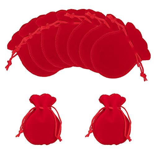 NBEADS 30 Pieza 9x7cm Bolsas de Tela de Terciopelo, Bolsas de Joyería con Cordón de Forma de Calabaza Bolsas de Regalo de Dulces Pequeños para Favoresde Cumpleaños de la Boda de Navidad, Rojo