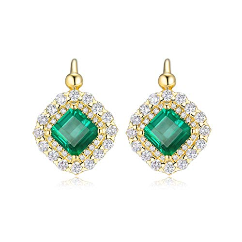 Bishilin Oro Amarillo de 18 K, Esmeralda Asscher de 2.6 ct Con Diamante Aretes de Aro Elegante Ajuste Cómodo Pendientes de Aro Huggie Para Mujeres Niñas Regalos Para Cumpleaños Navidad