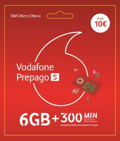 Vodafone Prepago S 11 GB: 6GB + 5 GB Gratis + 300 Minutos