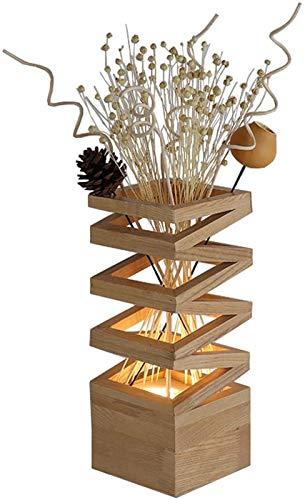 11.8 pulgadas de madera natural de la plaza del grano florero lámpara de mesa con flores...