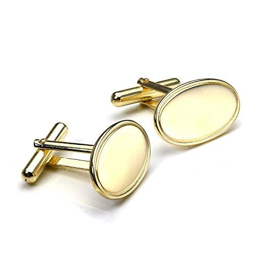 Sayers London 9 Karat Gelbgold Klassische Flache ovale Manschettenknöpfe. Scharnier Rückseite leicht schwenkbar