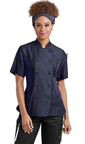 Women's Chambray Chef Coat with Mesh Side Panels (XS-3X, 2 Colors) (Large, Blue/Navy)
