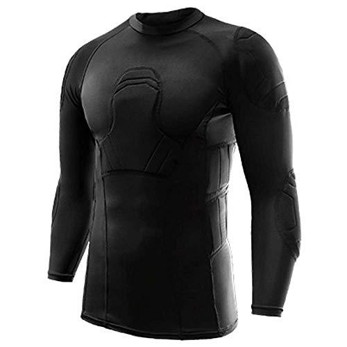 Protector de fútbol acolchado para hombre,protector seguro para el cuerpo,camisas de compresión acolchadas,traje de entrenamiento, para baloncesto,paintball,rugby,parkour,ejercicio extremo(S,Coat)