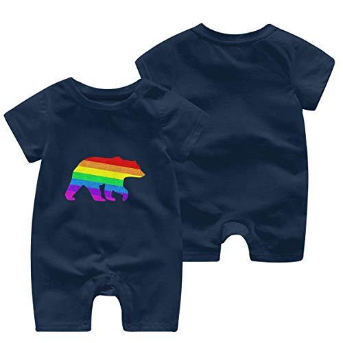 Newborn Baby Boys Girls Romper Jumpsuit Gay Bear Cotton Short Sleeve One-Piece Coverall