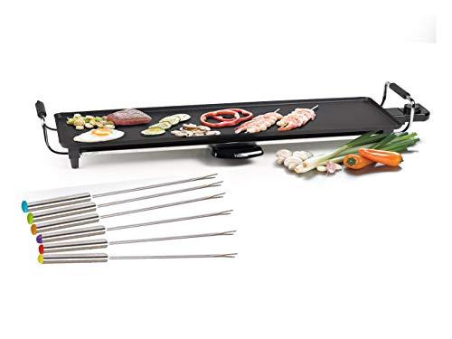 Tapanyaki Grill XL met 6 tapijten Yaki vorken, tafelgrill elektrische grill met uitneembare vetopvangbak, 1800 watt, anti-aanbaklaag grillplaat