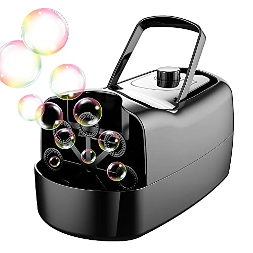 Tomkids Portable Automatic Bubble Machine for Kids, Up to 5,000 Bubbles/Min, 2 Intensity Settings, Includes USB Power Cord, Long Lasting Fun for Birthday Party, Festival, Show, Indoor, Outdoors