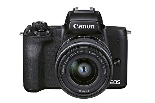Canon EOS M50 Mark II + EF-M 15-45 mm f/3.5-6.3 IS STM (Black) - Mirrorless camera built for content creators and streamers (4K, Vari-Angle screen, HDMI output, mic connection, YouTube live streaming)