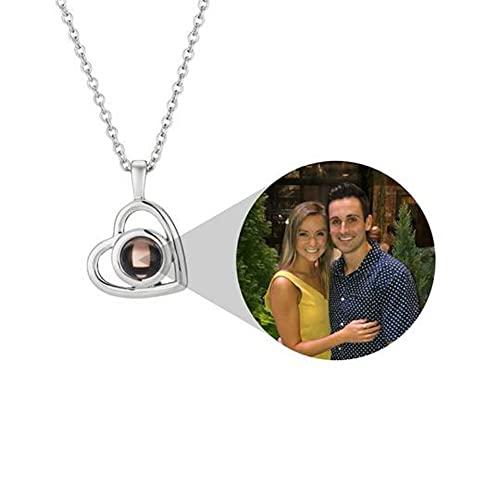 Collana con proiezione di foto personalizzate, testo fotografico personalizzato dell'amato immagine preferita, in argento Sterling, coppia di collane proiezione personalizzata, colore: oro rosa
