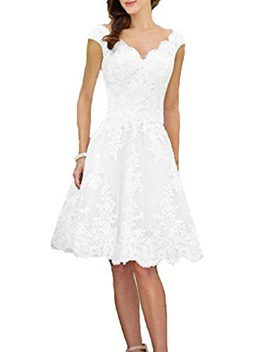 Liyuke Women's Short Vintage Wedding Dress V-Neck Lace Bridal Gowns Ivory US 16
