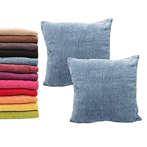 Meishida Set di 2 Fodere per Cuscini Morbido Tessuto in Ciniglia Federe con Cerniera Decorativa Nascosta per Divano e Letto (45 x 45 cm, Blu)