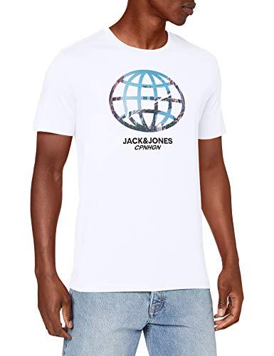 Jack & Jones JORSCALING tee SS Crew Neck FST Shirt, White/Fit:REG JJ, M para Hombre