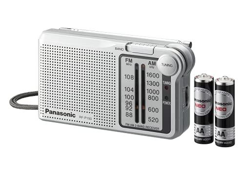 Panasonic RF-P150DEG-S Taschenradio mit Trageriemen, Batteriebetrieb silber