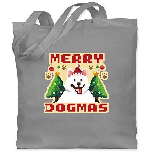 Shirtracer Weihnachten Kind - Merry Dogmas - Pixel art - bunt - Unisize - Hellgrau - Geschenk - WM101 - Stoffbeutel aus Baumwolle Jutebeutel lange Henkel