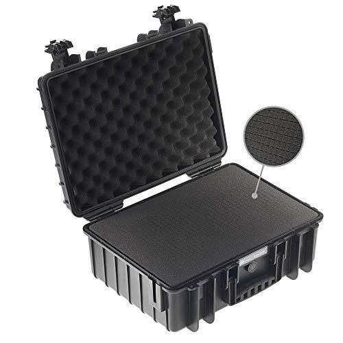 B&W Transportkoffer Outdoor Typ 5000 schwarz mit Würfelschaum - wasserdicht nach IP67 Zertifizierung, staubdicht, bruchsicher und unverwüstlich