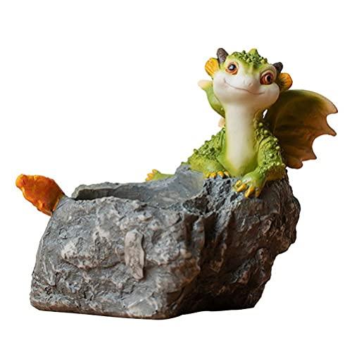 Lubudup Växtkruka liten dinosaurie blomkruka harts simulering djurdekoration saftiga gör-det-själv mikrolandskap hydroponiska gröna växter för kontor, skrivbord, bokhylla, matbord