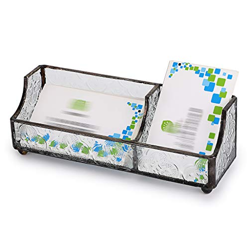 Sumnacon - Tarjetero de cristal para tarjetas de visita, soporte para tarjetas de nombre, estilo retro, organizador de escritorio, suministros de oficina, 2 ranuras