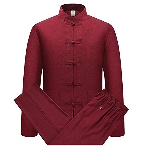 keepmore Cotone Lino Tai Chi Set per Uomo - 2 Pezzi Cinese Tradizionale Tang Suit Arti Marziali Abbigliamento Camicias + Pantaloni