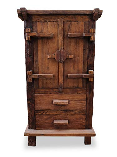 Oudhouten kast BANG PHO - 140 cm hoge massief houten kast van teakhout met 2 deuren, 2 laden en massieve achterwand