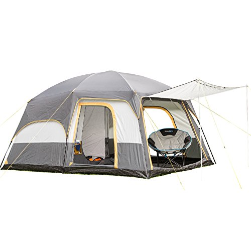 Skandika Tonsberg 5 Person Man Camping Double-Layer Tent with Sewn-In Groundsheet, 4000 mm Water Column, Mosquito Netting, 220cm Height & Removable Roof for Optimum Air-Flow (Dark Grey/Light Grey)