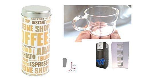 Kaffeepad Dose Espresso, ca. 7,5 x 18 cm, Farbe Coffee mit Aufdruck + Design Glastasse, Kaffeetasse, Kaffee, Tasse, Glas, 200ml, 4er Pack im Geschenk Karton