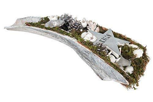 E + N Décoration, Weihnachts-Arrangement, Weihnachts-Gesteck, en Palm-Schale, Argent / Blanc, 68cm, Matériaux Naturels