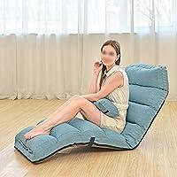 フロアチェア 怠惰なソファ、折りたたみ式の多機能背もたれソファ、レジャー出窓怠惰なソファデュアルパーパスクッションチェア (Color : Blue)