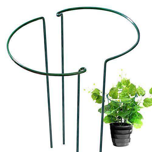 "LEOBRO 15.6"" Garden Support Stake, 2 Pack Half Round Metal Garden Plant Supports, Garden Plant Support Ring, Border Support, Plant Support Ring Cage for Rose Flowers Vine Indoor Plants"