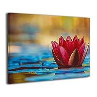 Skydoor J パネル ポスターフレーム 赤いスイレン 水生植物 花 ブルーム インテリア アートフレーム 額 モダン 壁掛けポスタ アート 壁アート 壁掛け絵画 装飾画 かべ飾り 30×20