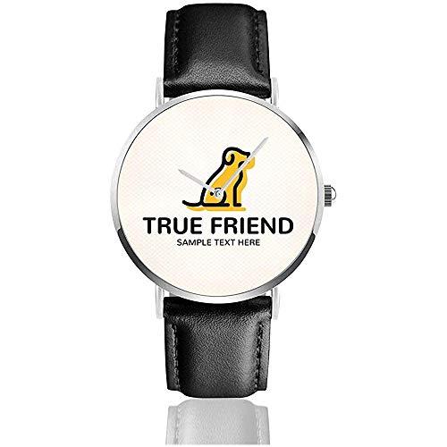 Wahre Hundefreund Logo Design-Vorlage Frauen Männer Lady Teen Girl Pu Lederband Armbanduhren Schwarz