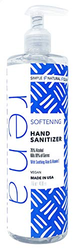 Rena Softening Hand Sanitizer - Made in the USA and Vegan – 75% Alcohol with Aloe and Vitamin E – 16 Ounce