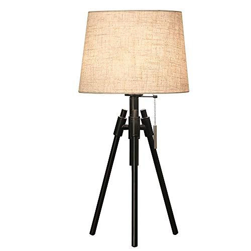 WPCBAA Tafellamp, modern, van smeedijzer, LED, voor woonkamer, tafellamp, lampenkap van stof, voor slaapkamer, bedlampje, decoratie, tafellamp