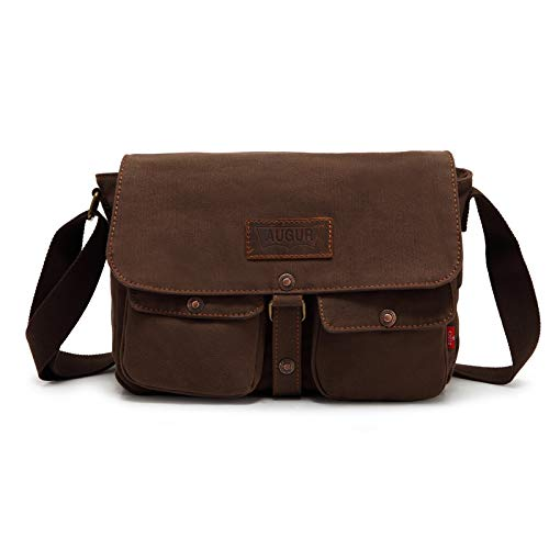Mens Canvas Leather Messenger Bags Briefcase Crossbody Satchel Shoulder School Bag Travel Hiking Camping Bag ipad Bag Book Bag Satchel School Bag (9053 Army green)