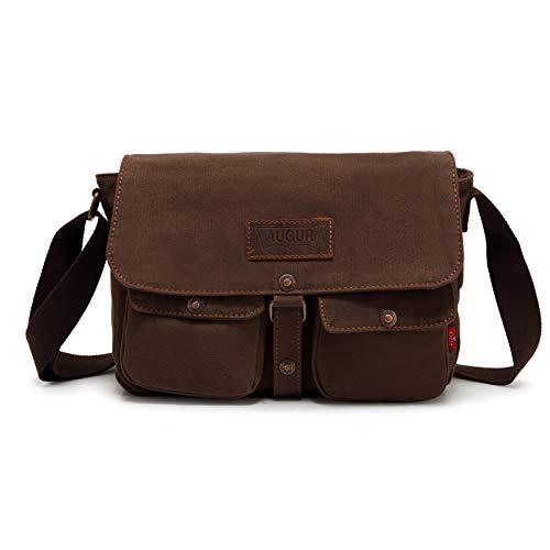 Mens Canvas Leather Messenger Bags Briefcase Crossbody Satchel Shoulder School Bag Travel Hiking Camping Bag ipad Bag Book Bag Satchel School Bag (9053 Army green)