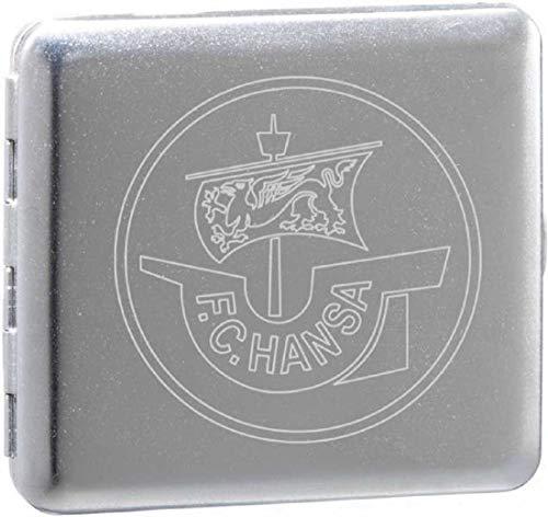 F.C. Hansa Rostock Etui - Big Logo - Metall flach, Zigarettenetui, Zigarettenbox - Plus Lesezeichen Wir lieben Fußball