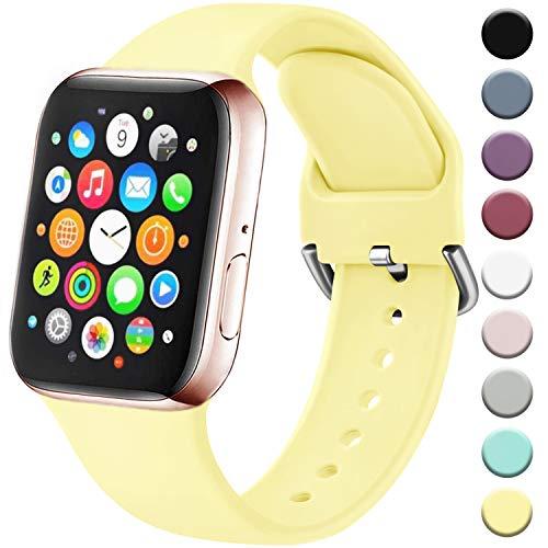 Amzpas Cinturino Compatibile per Apple Watch 38mm 40mm 42mm 44mm, Nuovo Cinturino in Silicone di Sportivo Morbido per iWatch Series 5,4,3,2,1 (38/40mm S/M, 07Giallo Chiaro)