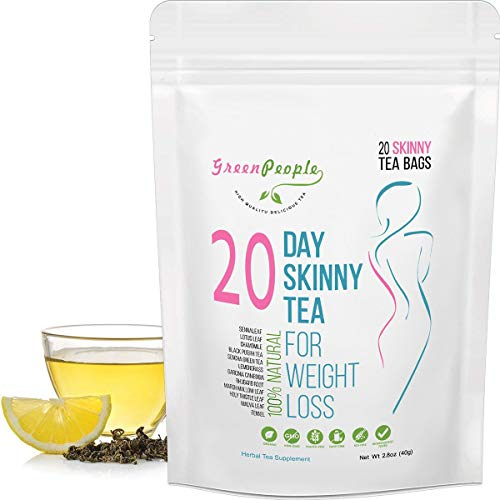 Skinny Tea Weight Loss Gentle Diet Detox Tea Teatox and Appetite Suppressant Reduce Bloating and Constipation 100% Natural Body Cleanse for Women and Men 20 Tea Bags