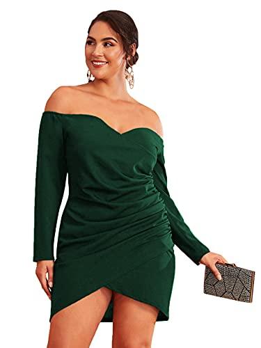 Romwe Women's Plus Size Sexy Off Shoulder Wrap Sweetheart Pleated Front Party Mini Bardot Dress Dark Green 1XL