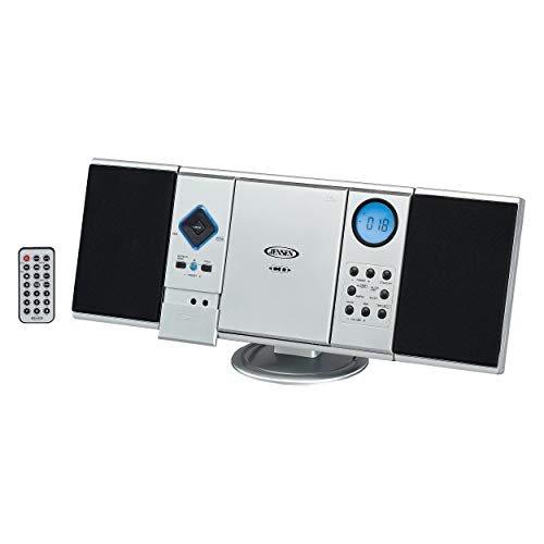 Jensen Modern Black Series JMC-180 Silver Wall Mountable Vertical Loading CD Music System, Digital AM/FM Stereo with Speakers, Aux-in, & Headphone Jack Remote Control (Silver)