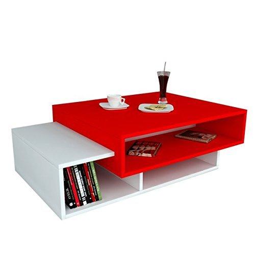 Alphamoebel Mesas auxiliares, Material de Madera, Rojo y Blanco, 105 x 60 x 32 cm