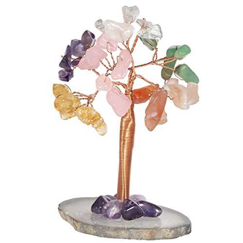 KYEYGWO - Árbol de Navidad con base de ágata, 6 colores, hecho a mano, árbol de dinero Feng Shui Bonsai, árbol de la suerte para oficina, dormitorio y salón