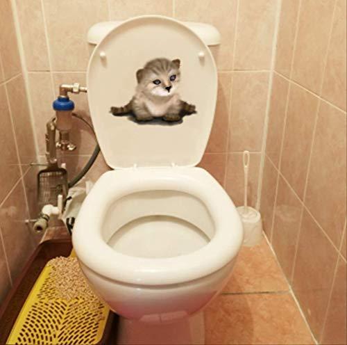 Autocollant De Toilette Beau Décor De Mur De Maison De Chambre À Coucher De Décalque De Chat Pour Animaux De Compagnie 22.4 * 17.3Cm