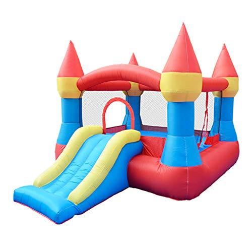 Kleines Schloss großer Spaß Aufblasbare Trampolinrutsche Hüpfburg für Kinder Wohnzimmer Kleiner Spielplatz Einkaufszentrum im Freien Kindergarten (Color : Red, Size : 265 * 190 * 170cm)