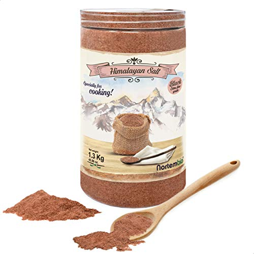 Nortembio Schwarze Himalaya-Salz 1,3 Kg. Extra Feinkorn (0,5-1 mm). Kala Namak. 100% Natürliches Salz. Charakteristischer Eigeschmack. Unraffiniert. Ohne Konservierungsstoffe. Aus Punjab Pakistan.